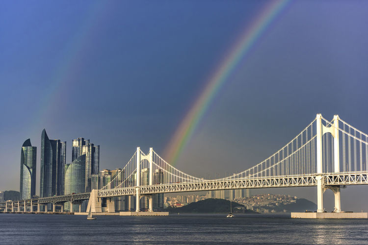 View of rainbow bridge over river