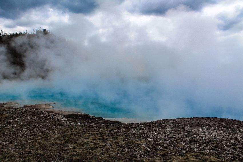 Yellostone Geyser Blue Aqua Cloudy Nature National Park Volcano Hot Spring Geology Scenics Nature Cloud - Sky Physical Geography Tranquility