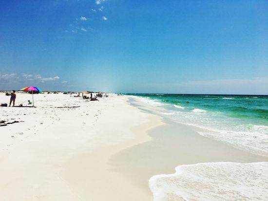 Sea Beach Sand Horizon Over Water Shore Water Nature Scenics Beauty In Nature Vacations Sky Real People Tranquil Scene Wave Leisure Activity Tranquility Day Outdoors Summer Pensacola Florida