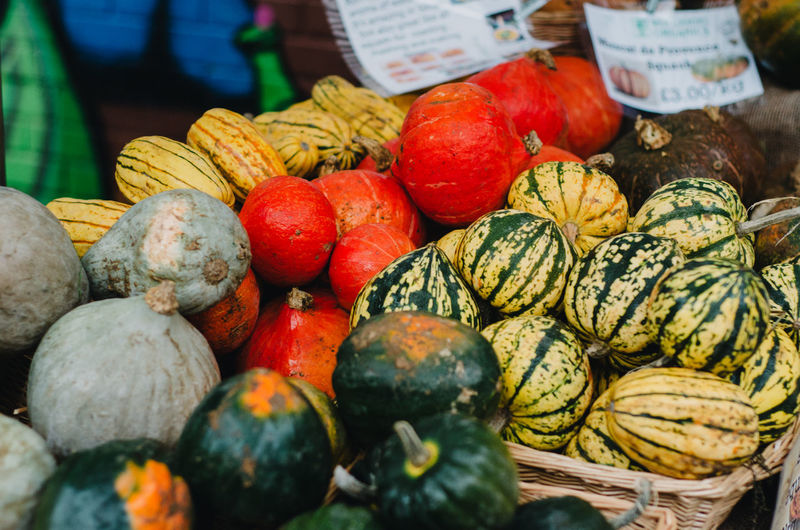 High Angle View Of Various Organic Pumpkins At Market Stall