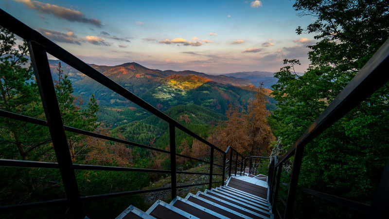 A steep staircase leads up to a magnificent view over the soft forms of the Rhodope mountains in the south of Bulgaria, gilded by the last rays of the summer sun Blue Hour Cloud Rhodopes Bulgaria Hand Rail Landscape Mountain Nature No People Outdoors Railing Scenics Sky Staircase Stairs Steps Steps And Staircases Summer Sunset Tree