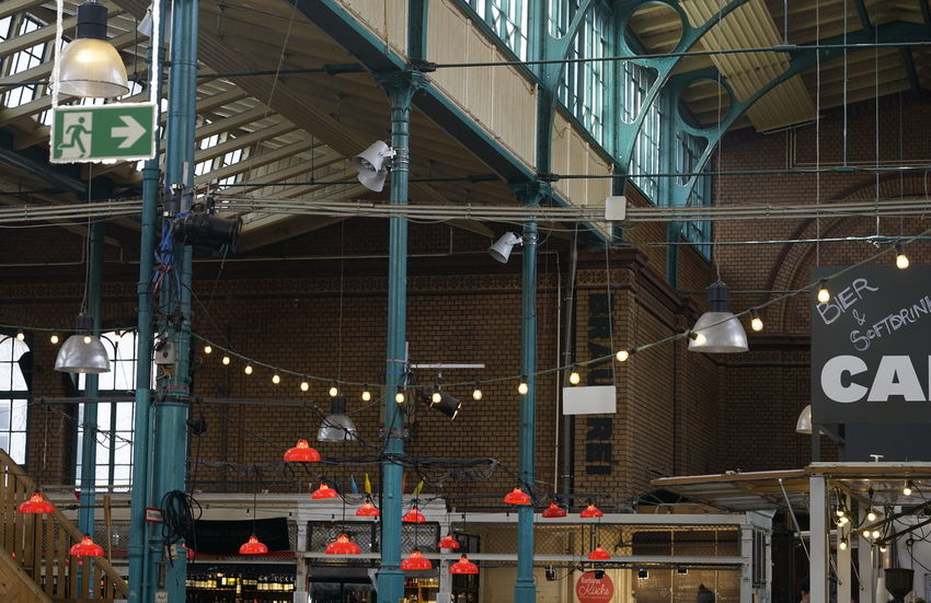 Markthalle neun Markthalle Neun Architecture Built Structure Illuminated Lighting Equipment Communication Metal Sign Building Exterior No People Text Outdoors Day Industry Building Light Electric Light Ceiling