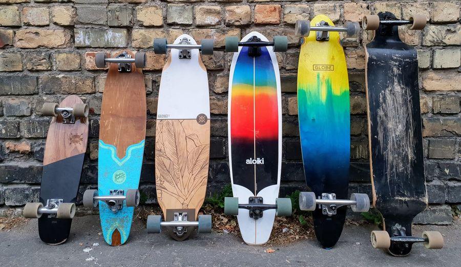 Longboards Skate Skateboarding Skateboard Longboard Longboarding Wall Urban Concrete Sport Cracked Colors Colorful Brick Brick Wall EyeEm Selects Multi Colored Variation Close-up Worn Out Longboard Skating