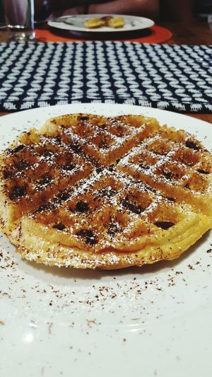 😎 yum yum yum Waffle Breakfast Evanston Chicago Delicious Chocolate Meal Indoors  Food And Drink Food Directlyinmytummy HowIstartmyday Freshness Ready-to-eat Cooked No People Unhealthy Eating Indoors  Food And Drink Close-up Food Freshness Serving Size