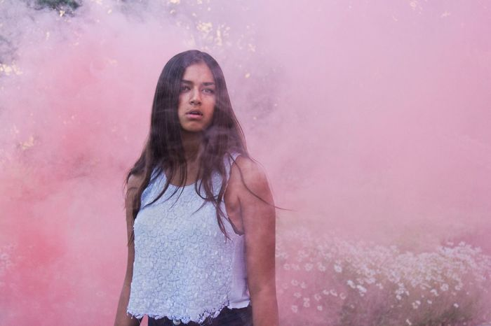 Showcase July Girl Women Pink Smoke Smoke Bomb Smoke Bombs Color Model Beauty Nature Summer Good Vibes Athleisure
