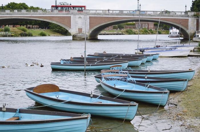 Boats on the Thames at East Molesey East Molesey Surrey Thames Path Riverside River River Thames Boats Hampton Court Bridge