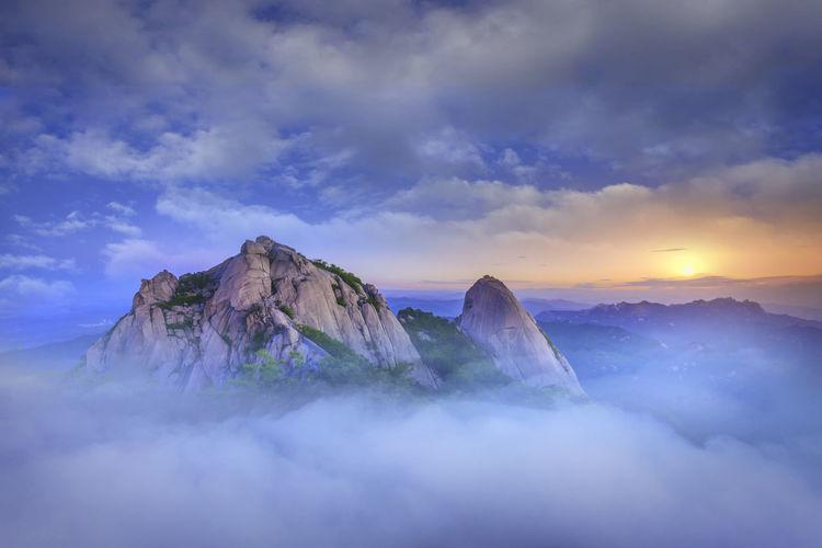 Morning  bukhansan nation park  in seoul city south  korea