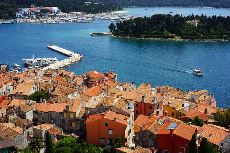 Top view of Rovinj ,Croatia Architecture Building Exterior Built Structure Water Building Residential District City High Angle View Nautical Vessel Sea Nature Day Roof House Town Outdoors Community Cityscape TOWNSCAPE Sailboat Bay Yacht Europe Village Photography Tourism