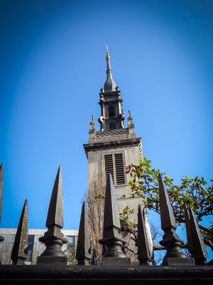 Architecture Clear Sky Built Structure Building Exterior Religion Place Of Worship Spirituality Outdoors Travel Destinations Low Angle View Day No People Tree Sky Bell Tower Out And About London Everyday History St Paul's Cathedral Railing Metal Spikes
