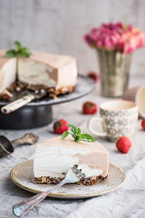 Cheesecake Cake Close-up Day Dessert Flower Focus On Foreground Food Food And Drink Freshness Indoors  No People Plate Ready-to-eat Rhubarb Sweet Food Table Temptation Fresh On Market 2017