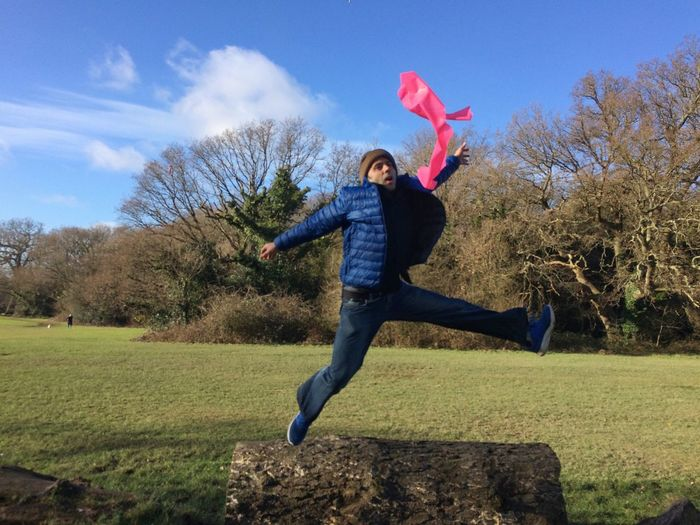 In fact if you feel like jumping is better to jump... Mid-air Jumping Full Length Sky One Person Tree Grass Motion Outdoors Happiness Nature Energetic Adult Day People