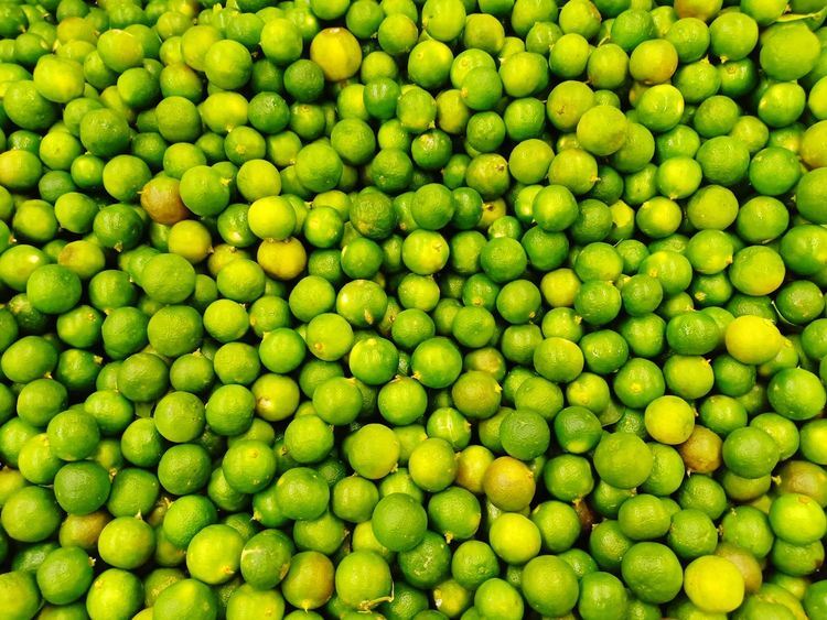 Fresh Lime From Village Market Market Stall No Body Sell Business Buy Display View Lime Fresh Lime Backgrounds Full Frame Biology Close-up Green Color Farmer Market