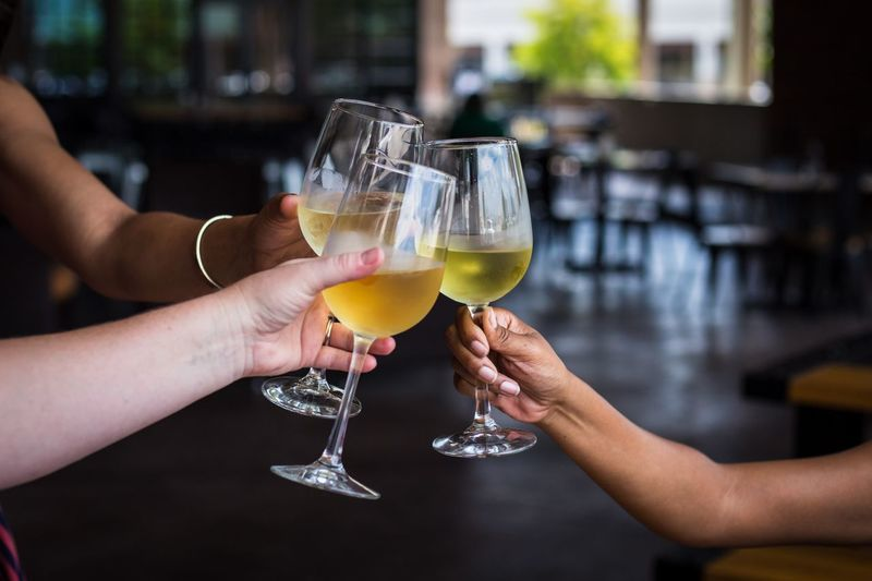 Cheers Cheers Wine Alcohol Refreshment Glass Human Hand Food And Drink Hand Holding Drink Drinking Glass Human Body Part Cocktail Food Celebration Celebratory Toast Women Friendship Adult Focus On Foreground People