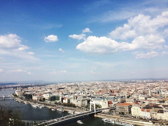 City Building Exterior Architecture Sky Cityscape Built Structure Cloud - Sky High Angle View Residential Building Water Day River No People Outdoors City Travel Freshness Budapest Traveling