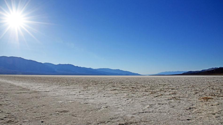 Badwater Basin, Death Valley NP, California Death Valley Desert Hot Arid Climate Blue Clear Sky Desert Heat Landscape Mountain Sky Sun Sunlight
