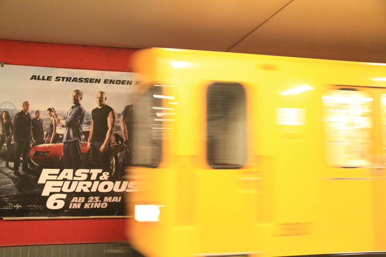Blurred Motion No People Pretending To Be Fast And Furious Public Transportation Subway Train Text Transportation Yellow