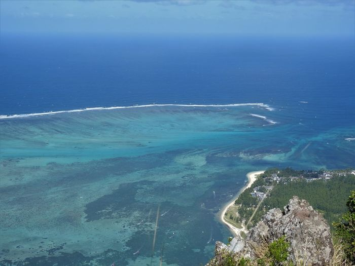 Mauritius Le Morne Water Sea Beauty In Nature Scenics - Nature Blue Nature Tranquil Scene Land No People Tranquility Day Beach Outdoors Idyllic Sky Non-urban Scene Aerial View High Angle View Horizon Turquoise Colored