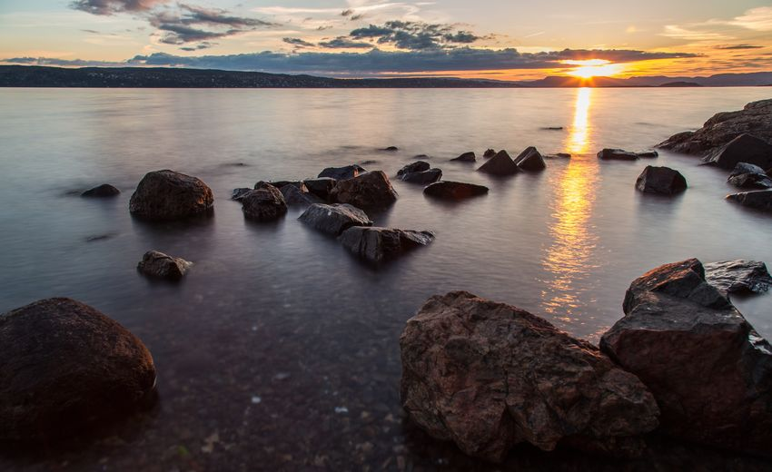 Sunset Nature Scenics Sea Water Rock - Object Tranquil Scene Sky Tranquility Outdoors Oslofjord Oslo, Norway Oslo Norway Rocks And Water Shore