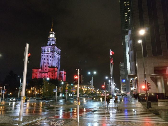 Night Illuminated Outdoors No People City Water Sky Citylights Warsaw Poland Downtown District Traffic Lights White Red Independence Day Celebrations Rainy