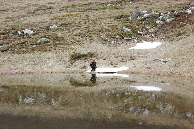 Full length of man standing in lake