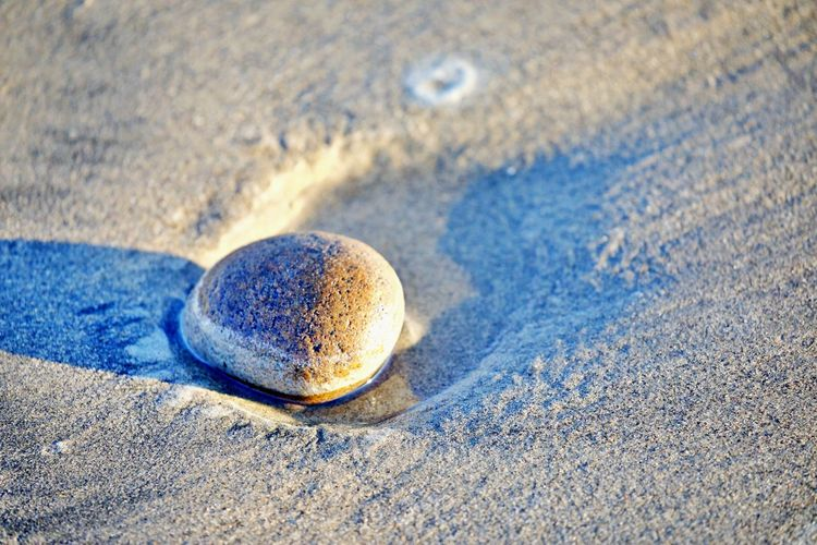 High angle view of pebble on beach