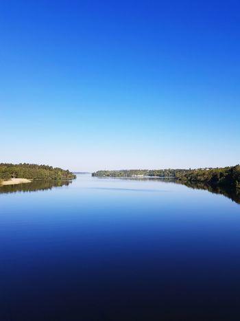 Water Clear Sky Blue Lake Tree Symmetry Reflection Sky Landscape