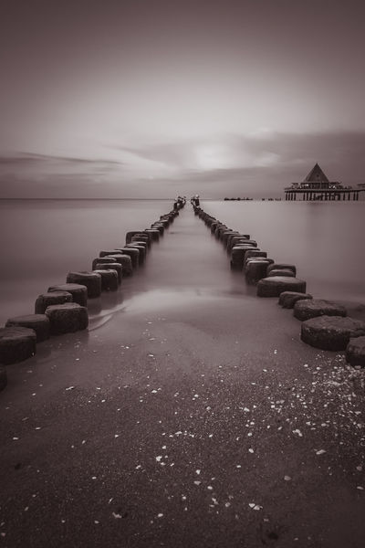 into the Sea Baltic Sea Balticsea Bunen Meer Architecture Beach Beauty In Nature Bridge - Man Made Structure Built Structure Connection Day Germany Heringsdorf Horizon Over Water Landscape_photography Nature No People Outdoors Scenics Sea Sea And Sky Sky Tranquil Scene Tranquility Water
