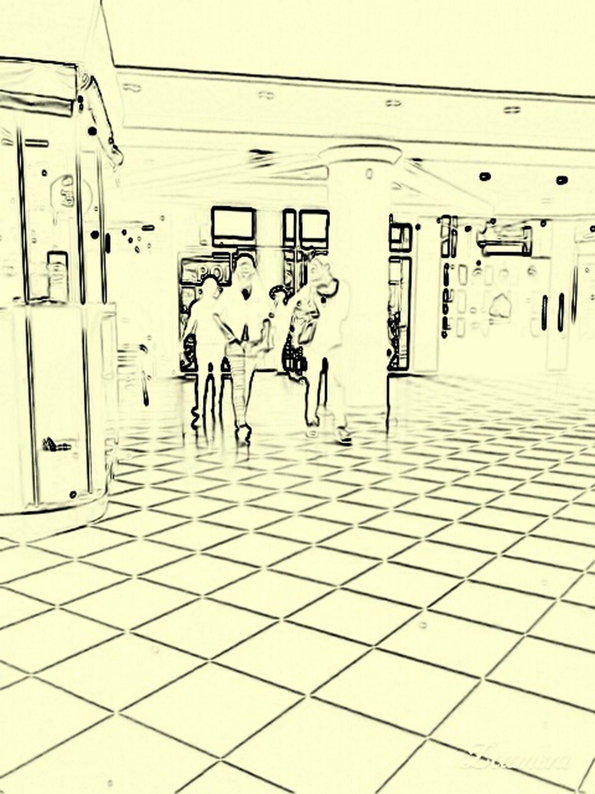 built structure, architecture, indoors, text, graffiti, railroad station, communication, western script, wall - building feature, transportation, tiled floor, men, ceiling, walking, day, flooring, railroad station platform, building exterior, incidental people