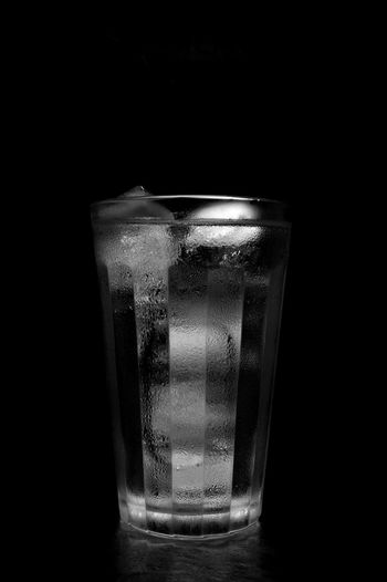 Black Background Close Up Cold Water Drinking Water Glass Ice Light Box Light Tent Low Key Purity Still Life Water