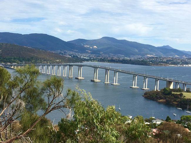 Tasman Bridge Ocean Mountain View Bridge Water Mountain Connection Sky Bridge Built Structure Cloud - Sky