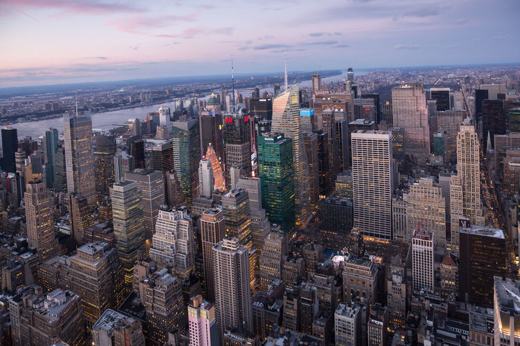 New York City Aerial View Architecture Building Exterior Built Structure City Cityscape Crowded Day Downtown Growth High Angle View Modern Office Park Outdoors Sky Skyline Skyscraper Sunset Tall Tower Travel Destinations Urban Skyline Water