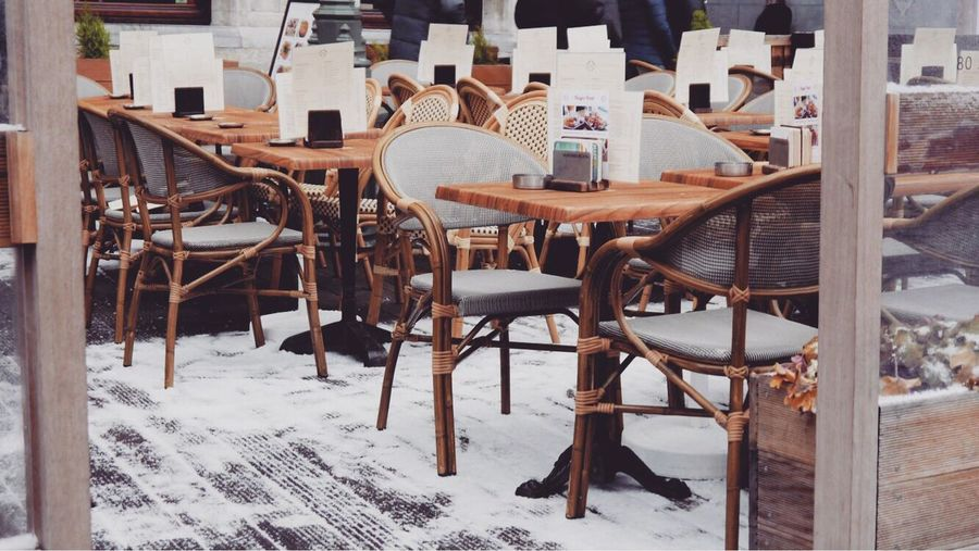 Chair Table Snow Winter Cold Temperature Outdoors No People Day