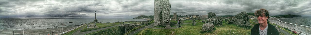 Panoramashot 360 Panorama Wales❤ My Son :) Beautiful Wales Castle Ruin Stormy Sky Ruins Of A Castle Aberystwyth For My Friends That Connect