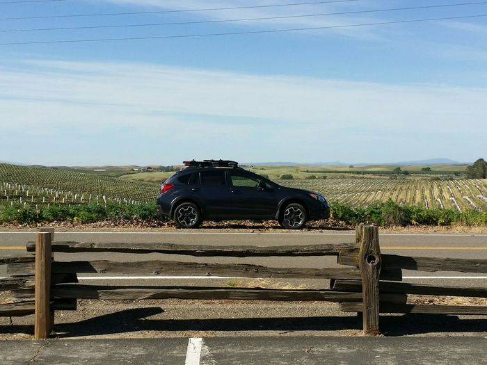 A Subaru Crosstrek in the foreground of California's Central Valley, Winecountry. 📷:Galaxynote3