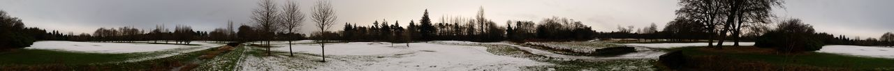 Panoramic Golfcourse Snow Landscape