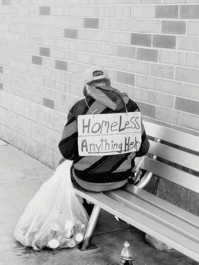 Brick Wall Text Bottle Day Outdoors Homelessness  Homeless Homelessman Homeless Man Homeless Person