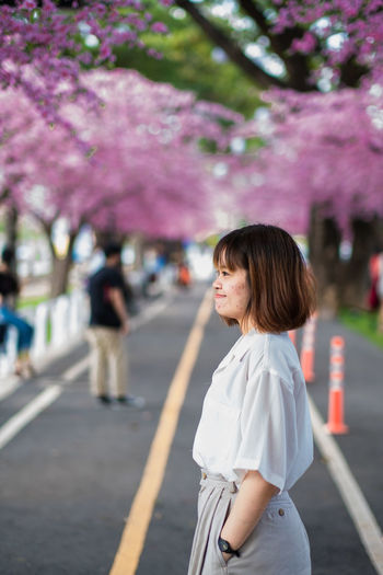 Woman standing by cherry blossom on road in city