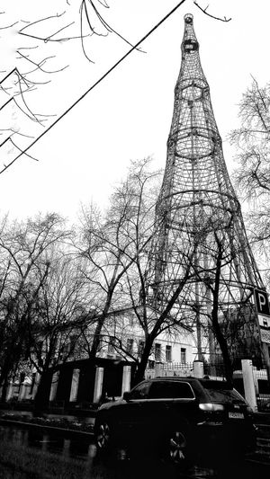 Tree Sky No People Outdoors Day Connection Branch Car Roads Tower TV Tower Monohrome