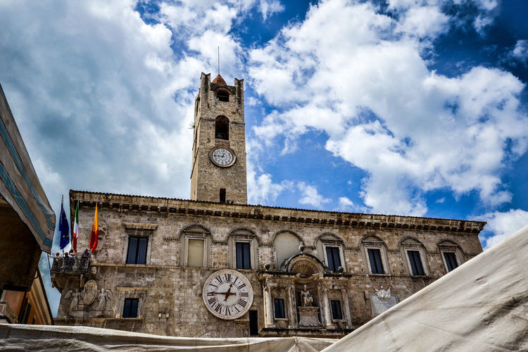 Ascoli Piceno Most Beautiful Square In The World Travel Photography Architecture Bell Tower Building Exterior Built Structure City Clock Clock Tower Cloud - Sky Day History Italy Low Angle View Marche No People Outdoors Piazza Del Popolo Sky Time Travel Destinations