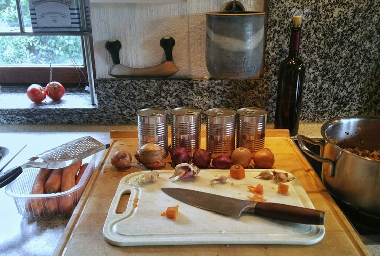 Cooking Sauce Bolognese today. Cooking Sauce Bolognese Tomato Sauce EyeEm Selects Dinner Preparation Table High Angle View Prepared Food Chopping Board Kitchen Knife Salt - Seasoning Knife Chopping Cutting Board