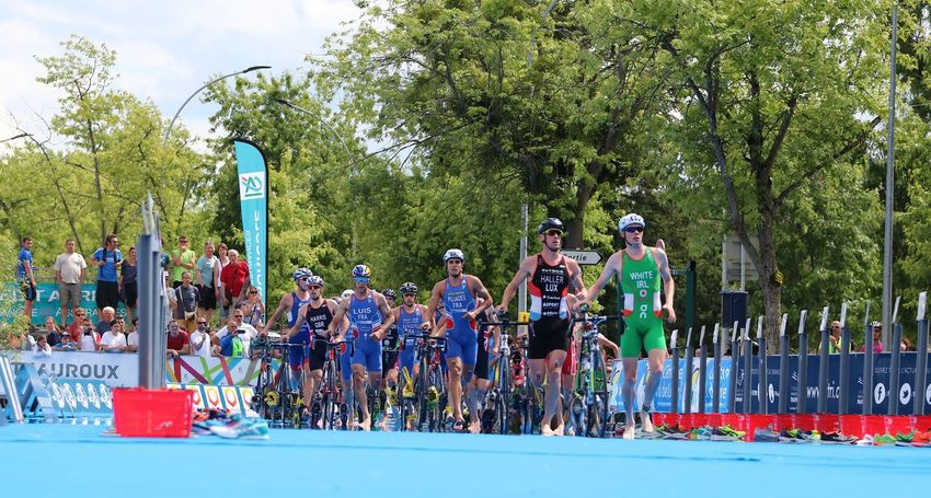 Adults Only Bikes Blue Carpet Chateauroux Cycles Day ETU Sprint Large Group Of People Outdoors Race Transitional Moments Tree Triathletes TRIATHLON