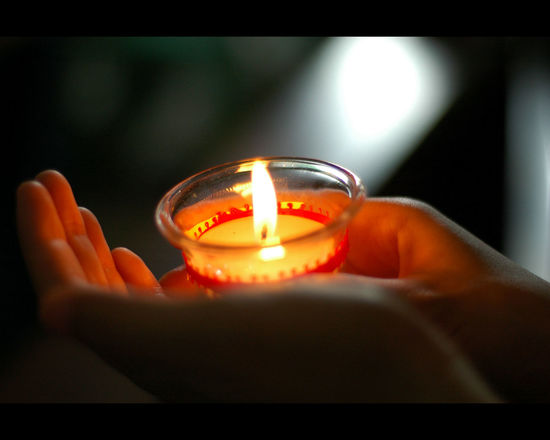 Burning Candle Close-up Flame Focus On Foreground Glowing Hand And Flower Hand Holding Candle Heat - Temperature Holding Human Body Part Human Hand Illuminated Indoors  Lit One Person Real People