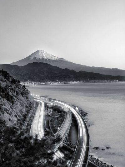 Monochrome Monochrome _ Collection Monochrome_life Monocrome Mt.Fuji Mountain Landscape Nature Outdoors Beauty In Nature Scenics Beach Lake No People Water Day Sky