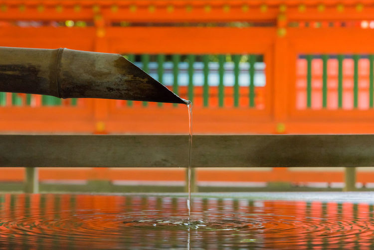 Close-up of pouring water in shrine