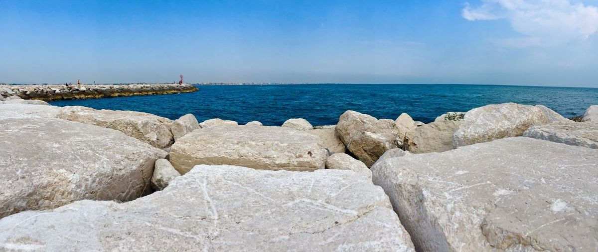 Rimini pan 2 Beach Beauty In Nature Blue Day Groyne Horizon Horizon Over Water Land Nature No People Outdoors Rock Rock - Object Scenics - Nature Sea Sky Solid Tranquil Scene Tranquility Water