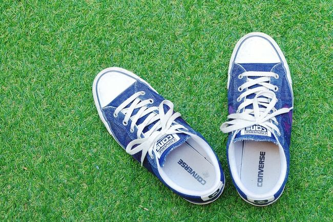converse cons on greensward grassShoe Green Color Nature Outdoors Day High Angle View Lifestyles Onestar One Star Converse Backgrounds Green Background Textured  Background Nature Lawn Green Sward Pair Grass Green Color Textured  Shoe