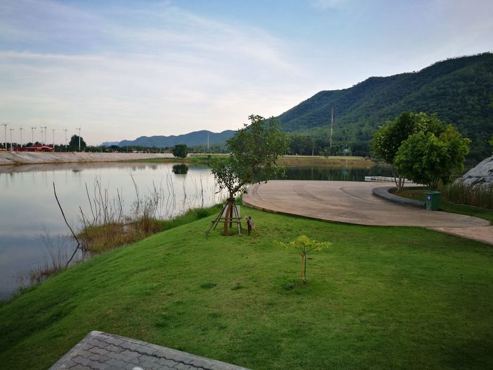 Beauty In Nature Cloud - Sky Day Grass Green Color Lake Mountain Nature No People Outdoors Plant Scenics - Nature Sky Tranquil Scene Tranquility Tree Water Wood - Material