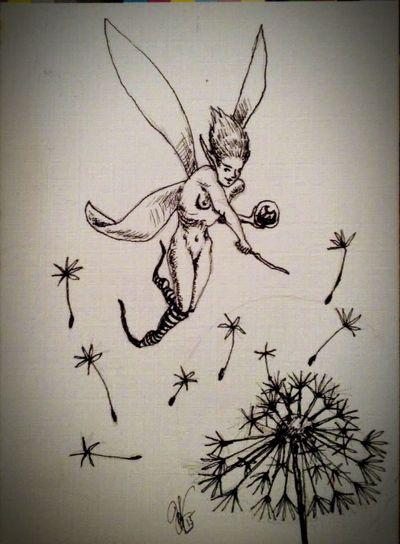 Ink Sketch scattering of seeds. Fantasy Pixie Drawing Art Fae Faeries