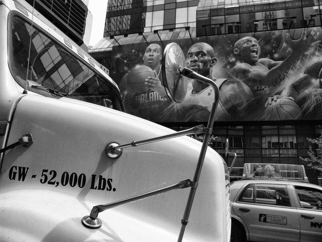 Sports on the wall Truck Billboard Sports Baseball Manhattan Streetphotography Street Photography Portrait Of America Black Star Sports(: