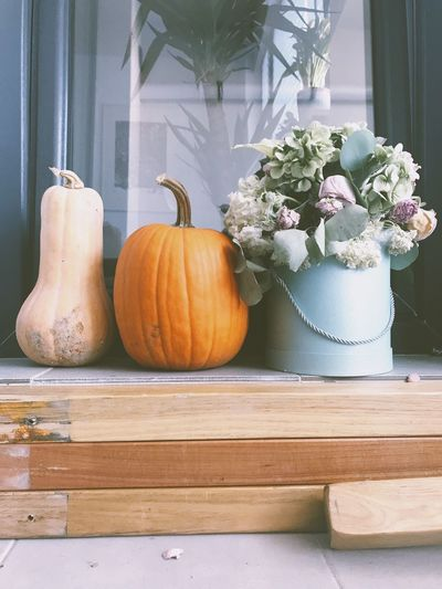 Table Indoors  Home Interior No People Pumpkin Window Sill Flower Day Food Freshness Close-up